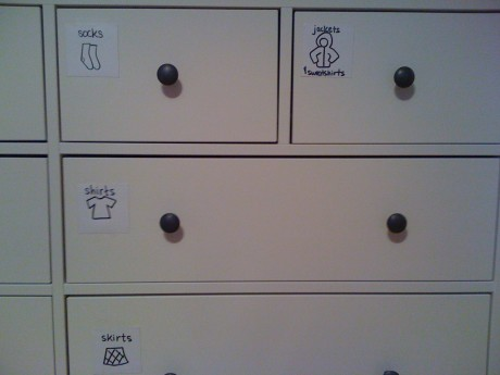 Dresser drawer label