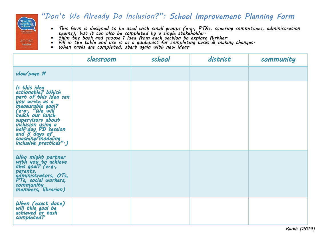 Inclusion Planning Form